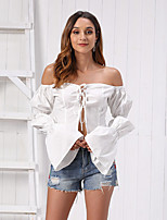 cheap -Women's Blouse Letter Tops - Lace up Off Shoulder Cotton Sexy Going out Summer White XS S M L / Beach