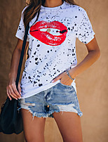 cheap -Women's T-shirt Graphic Print Round Neck Tops Basic Summer White