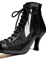 cheap -Women's Dance Shoes Latin Shoes Heel Flared Heel Customizable Black / Performance / Satin / Leather / Practice
