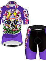 cheap -21Grams Men's Short Sleeve Cycling Jersey with Shorts Nylon Polyester Violet Novelty Skull Floral Botanical Bike Clothing Suit Breathable 3D Pad Quick Dry Ultraviolet Resistant Reflective Strips