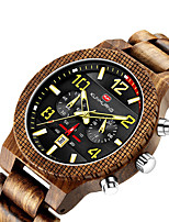 cheap -Men's Sport Watch Quartz Modern Style Stylish Big Face Water Resistant / Waterproof Wood Analog - Black Red Brown / Calendar / date / day / Noctilucent
