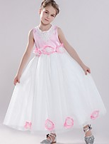 cheap -Sheath / Column Round Floor Length Tulle Junior Bridesmaid Dress with Bow(s) / Appliques