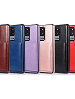 cheap -Case For Samsung Galaxy S20/S20 Plus/S20 Ultra/S10/S10E/S10 Plus/S9/S9 Plus/S8/S8 Plus/Note 10/Note 10 Plus/Note 9/A10/A10E/A10S/A20 Card Holder / Shockproof Back Cover Solid Colored PU Leather / TPU