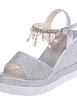 cheap -Women's Sandals Summer Wedge Heel Open Toe Daily PU Pink / Gold / Silver