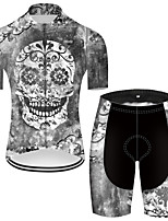cheap -21Grams Men's Short Sleeve Cycling Jersey with Shorts Nylon Polyester Grey Novelty Skull Floral Botanical Bike Clothing Suit Breathable 3D Pad Quick Dry Ultraviolet Resistant Reflective Strips Sports