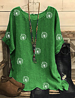 cheap -Women's Blouse Plus Size Floral Tops Round Neck Loose Daily Summer Black Red Green M L XL 2XL