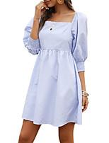 cheap -Women's A-Line Dress Short Mini Dress - 3/4 Length Sleeve Striped Summer Square Neck Work Casual 2020 Black Blue S M L XL