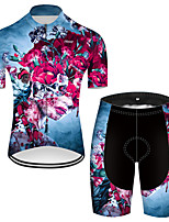 cheap -21Grams Men's Short Sleeve Cycling Jersey with Shorts Nylon Polyester Red+Blue Novelty Skull Floral Botanical Bike Clothing Suit Breathable 3D Pad Quick Dry Ultraviolet Resistant Reflective Strips
