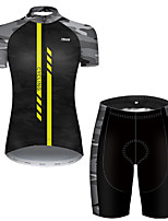 cheap -21Grams Women's Short Sleeve Cycling Jersey with Shorts Nylon Polyester Black / Yellow Stripes Patchwork Camo / Camouflage Bike Clothing Suit Breathable 3D Pad Quick Dry Ultraviolet Resistant