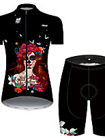 cheap -21Grams Women's Short Sleeve Cycling Jersey with Shorts Nylon Polyester Black / Red Butterfly Skull Floral Botanical Bike Clothing Suit Breathable 3D Pad Quick Dry Ultraviolet Resistant Reflective