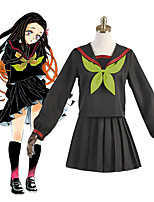cheap -Inspired by Demon Slayer: Kimetsu no Yaiba Kamado Nezuko Anime Cosplay Costumes Japanese Cosplay Suits School Uniforms Socks Tie Costume For Women's Girls'