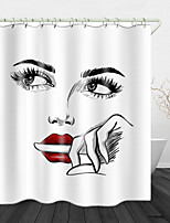 cheap -Simple Face Depiction Digital Print Waterproof Fabric Shower Curtain for Bathroom Home Decor Covered Bathtub Curtains Liner Includes with Hooks