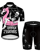 cheap -21Grams Men's Short Sleeve Cycling Jersey with Shorts Nylon Polyester Black / Red Flamingo Animal Skull Bike Clothing Suit Breathable 3D Pad Quick Dry Ultraviolet Resistant Reflective Strips Sports