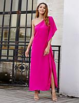 cheap -Women's Swing Dress Maxi long Dress - Half Sleeve Solid Color Split Summer Casual Elegant Going out Beach 2020 Black Fuchsia Royal Blue XS S M L
