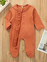 cheap -Baby Girls' Active Basic Solid Colored Long Sleeve Romper Orange