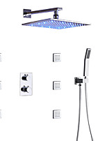 cheap -Thermostatic Bathroom Shower Faucet Set / Wall Mounted Square LED Rain Shower Head / Hand Shower And Massage Body Jets Included / Brass / Contemporary