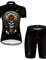 cheap -21Grams Women's Short Sleeve Cycling Jersey with Shorts Nylon Polyester Black 3D Novelty Skull Bike Clothing Suit Breathable 3D Pad Quick Dry Ultraviolet Resistant Reflective Strips Sports 3D