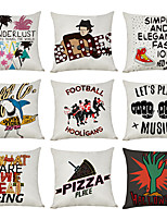 cheap -9 pcs Linen Pillow Cover, Music Wanderlust Casual Modern Square Traditional Classic