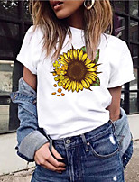 cheap -Women's T-shirt Graphic Tops Round Neck Daily Summer Wine White Black S M L XL 2XL 3XL