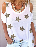 cheap -Women's T-shirt Graphic Round Neck Tops Loose White