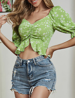 cheap -Women's Floral Tropical Leaf Zipper Print Blouse Basic Elegant Holiday Beach Green