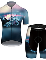 cheap -21Grams Men's Short Sleeve Cycling Jersey with Shorts Nylon Polyester Blue Animal Tiger Bike Clothing Suit Breathable 3D Pad Quick Dry Ultraviolet Resistant Reflective Strips Sports Animal Mountain