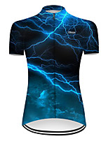 cheap -21Grams Women's Short Sleeve Cycling Jersey Nylon Polyester Black / Blue 3D Lightning Gradient Bike Jersey Top Mountain Bike MTB Road Bike Cycling Breathable Quick Dry Ultraviolet Resistant Sports