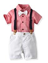 cheap -Kids Boys' Basic Solid Colored Short Sleeve Clothing Set Blushing Pink