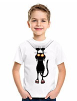 cheap -Kids Boys' Basic Cat Animal Print Short Sleeve Tee White