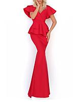 cheap -Mermaid / Trumpet Elegant Sexy Engagement Formal Evening Dress V Neck Short Sleeve Floor Length Stretch Satin with Sleek 2020
