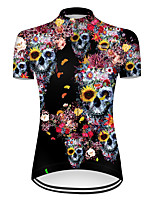 cheap -21Grams Women's Short Sleeve Cycling Jersey Nylon Polyester Black / Yellow Novelty Skull Floral Botanical Bike Jersey Top Mountain Bike MTB Road Bike Cycling Breathable Quick Dry Ultraviolet Resistant