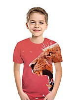 cheap -Kids Boys' Street chic Animal Short Sleeve Tee Wine