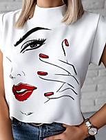Недорогие -Жен. Блуза Графические принты Верхушки Круглый вырез Повседневные Лето Белый S M L XL 2XL