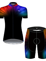 cheap -21Grams Women's Short Sleeve Cycling Jersey with Shorts Nylon Polyester Black / Blue 3D Gradient Bike Clothing Suit Breathable 3D Pad Quick Dry Ultraviolet Resistant Reflective Strips Sports 3D