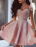 cheap -A-Line Glittering Luxurious Homecoming Cocktail Party Dress Sweetheart Neckline Sleeveless Short / Mini Satin with Beading 2020