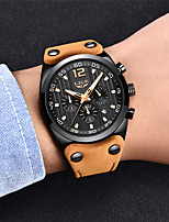 cheap -LIGE Men's Sport Watch Quartz Modern Style Sporty Leather Brown Water Resistant / Waterproof Calendar / date / day Noctilucent Analog Casual Outdoor - Black / Silver Black+Gloden / Stainless Steel