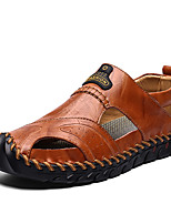 cheap -Men's Spring / Summer Casual Daily Home Sandals Walking Shoes Cowhide Breathable Waterproof Non-slipping Light Brown / Dark Brown / Black Slogan