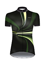cheap -21Grams Women's Short Sleeve Cycling Jersey Nylon Polyester Black / Green 3D Stripes Gradient Bike Jersey Top Mountain Bike MTB Road Bike Cycling Breathable Quick Dry Ultraviolet Resistant Sports