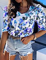 cheap -Women's T-shirt Graphic Tops V Neck Daily Summer Blue Blushing Pink S M L XL 2XL