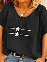 cheap -Women's T-shirt Geometric V Neck Tops Summer Black Blue Yellow