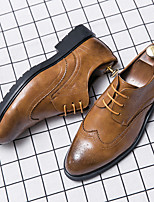 cheap -Men's Summer Casual Daily Oxfords Walking Shoes PU Breathable Non-slipping Wear Proof Black / Yellow / Brown