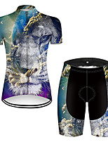 cheap -21Grams Women's Short Sleeve Cycling Jersey with Shorts Nylon Polyester Black / White Gradient Animal Lion Bike Clothing Suit Breathable 3D Pad Quick Dry Ultraviolet Resistant Reflective Strips Sports
