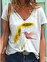 cheap -Women's T-shirt Graphic Print V Neck Tops White