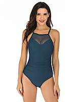 cheap -Women's Mesh One Piece Swimsuit Padded Swimwear Bodysuit Swimwear Black Green Dark Purple Breathable Quick Dry Comfortable Sleeveless - Swimming Surfing Water Sports Summer / Nylon / Elastane