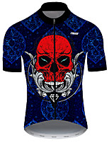 cheap -21Grams Men's Short Sleeve Cycling Jersey Nylon Polyester Red+Blue Skull Funny Bike Jersey Top Mountain Bike MTB Road Bike Cycling Breathable Quick Dry Ultraviolet Resistant Sports Clothing Apparel