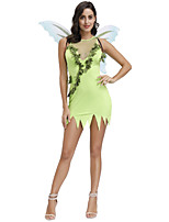 cheap -Elf Outfits Party Costume Costume Women's Movie Cosplay Green Dress Wings Masquerade Polyester