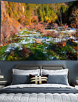 cheap -Home Living Tapestry Wall Hanging Tapestries Wall Blanket Wall Art Wall Decor Forest Tree Blue Sky Cloudy Tapestry Wall Decor