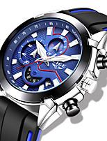 cheap -LIGE Men's Sport Watch Quartz Modern Style Sporty Silicone Black / Blue Water Resistant / Waterproof Noctilucent Analog Outdoor Cool - Black / Silver Black+Gloden Black