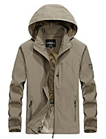 cheap -Men's Hiking Jacket Hiking Windbreaker Summer Outdoor Thermal / Warm Waterproof Windproof Breathable Jacket Camping / Hiking Hunting Fishing Black / Army Green / Khaki / Dark Blue
