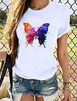 cheap -Women's T-shirt Graphic Prints Round Neck Tops Loose 100% Cotton White